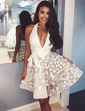 Trendy Halter Short Cocktail Dress White Homecoming Dress with Appliques - ericprom