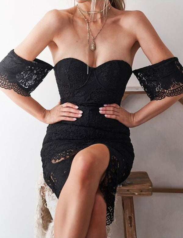 Sexy Sweetheart Black Cocktail Dress with Sleeves Split Lace Homecoming Dress - ericprom