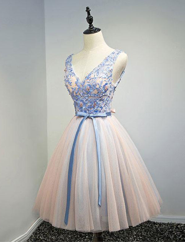 A Line V Neck Multi Color Short Homecoming Dress with Appliques Bowknot - ericprom