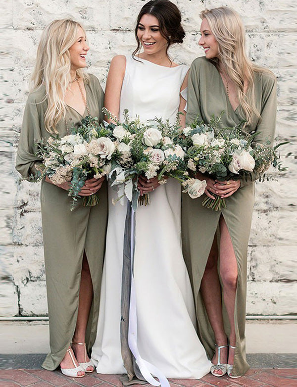 Top Sheath V Neck Long Sleeves Chiffon Sage Long Bridesmaid Dress with Split - ericprom