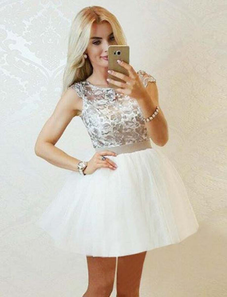 A Line Jewel Short Cap Sleeves Tulle White Homecoming Dress with Lace