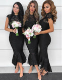 Fashion Mermaid Crew Cap Sleeves Black Lace Long Bridesmaid Dresses - ericprom