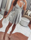 Spaghetti Straps Backless Homecoming Dress with Beading Silver Cocktail Dress - ericprom