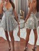 Spaghetti Straps Backless Homecoming Dress with Beading Silver Cocktail Dress