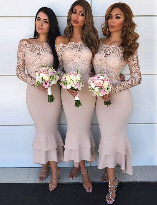 Elegant Mermaid Off The Shoulder Long Sleeves Pink Bridesmaid Dresses with Lace - ericprom