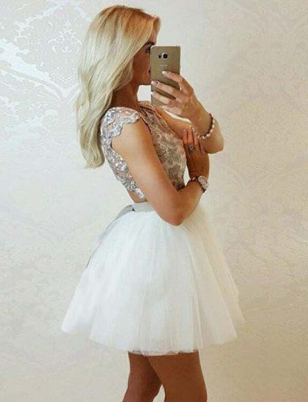 A Line Jewel Short Cap Sleeves Tulle White Homecoming Dress with Lace - ericprom