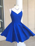 Spaghetti Straps Royal Blue Cocktail Dress Short Homecoming Dress with Bowknot - ericprom