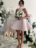 Cute A Line High Neck Short Sleeveless Open Back Bridesmaid Dress with Bowknot - ericprom
