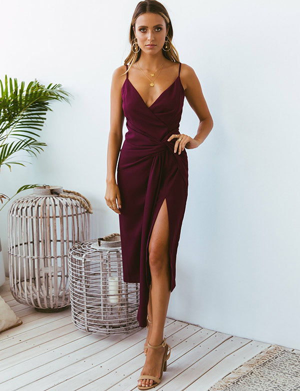 Sheath Spaghetti Straps Cocktail Dress with Split Fuchsia Homecoming Dress - ericprom