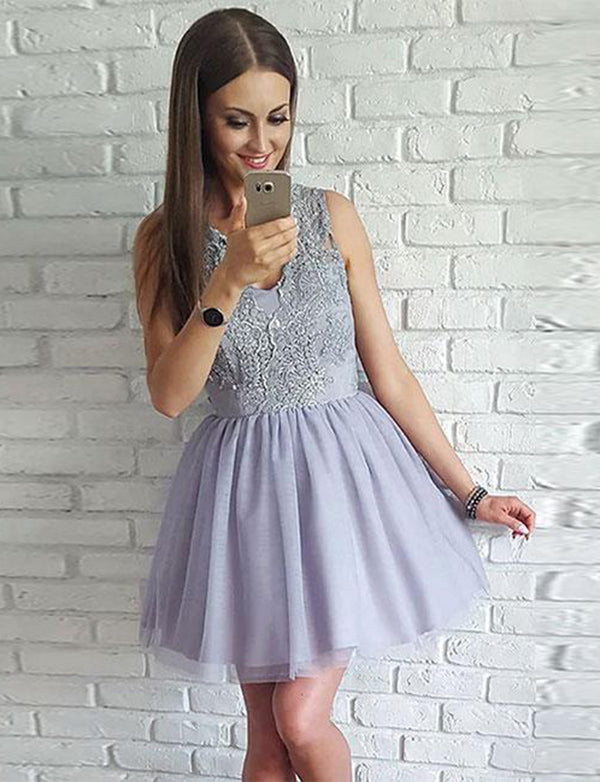 Simple V Neck Lilac Short Homecoming Dress with Appliques Cocktail Dress - ericprom