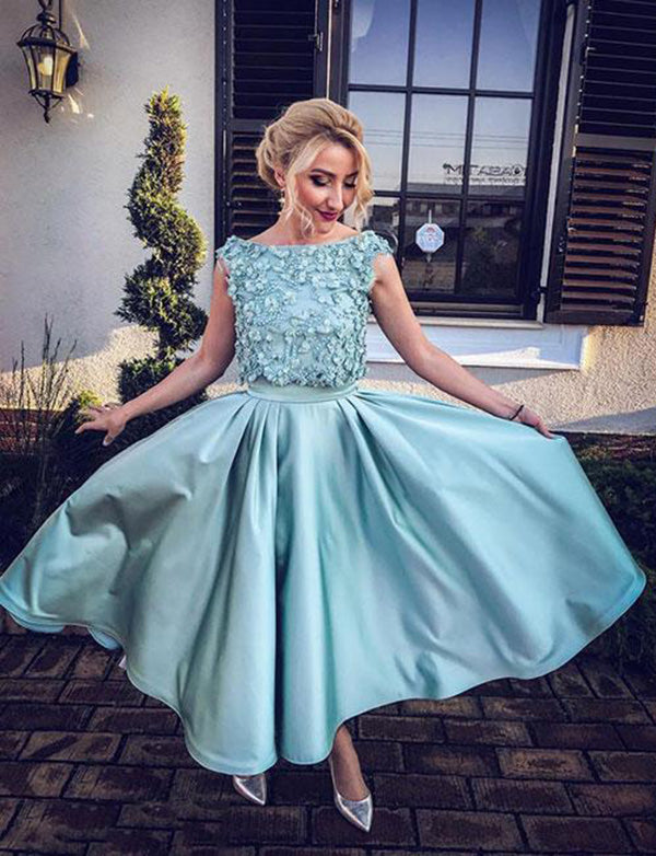 Cute Crew Ankle Length Blue Homecoming Dress with Appliques Prom Dress - ericprom