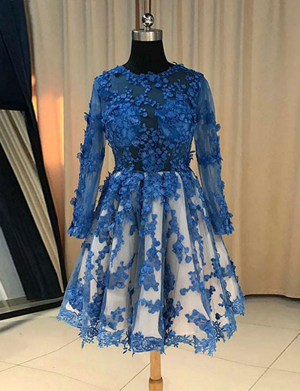 A-Line Jewel Long Sleeves Short Tulle Homecoming Dress with Appliques