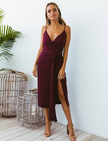 Sheath Spaghetti Straps Cocktail Dress with Split Fuchsia Homecoming Dress