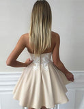 Sweetheart Mini Short Homecoming Dress Champagne Cocktail Dress with Appliques - ericprom