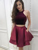 Short Burgundy Cocktail Dress with Pockets Two Piece Homecoming Dress