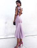 Beauty Criss Cross Straps Lavender Mermaid Bridesmaid Dress with Ruffles - ericprom