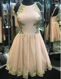 Round Neck Tulle Pink Homecoming Dress Short Cocktail Dress with Appliques - ericprom