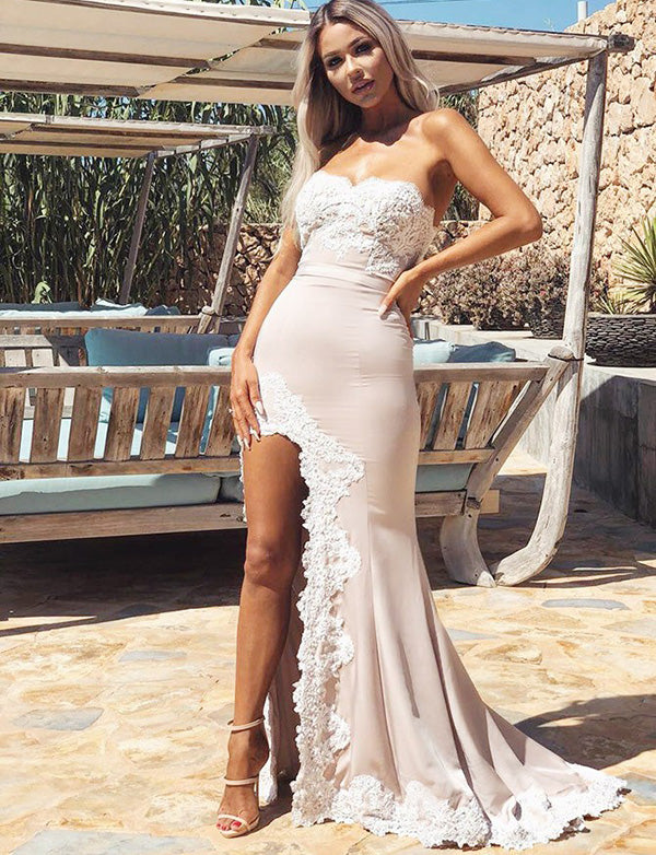 Hot Mermaid Sweetheart Long Champagne Bridesmaid Dress with Appliques Split - ericprom
