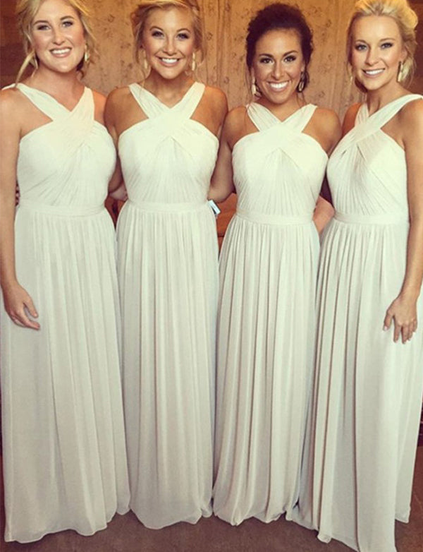 A-Line Cross Neck Ivory Chiffon Long Bridesmaid Dress with Sash Ruched - ericprom