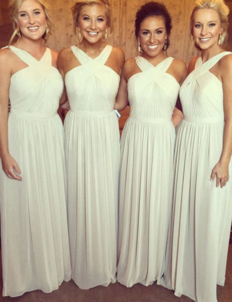 A-Line Cross Neck Ivory Chiffon Long Bridesmaid Dress with Sash Ruched