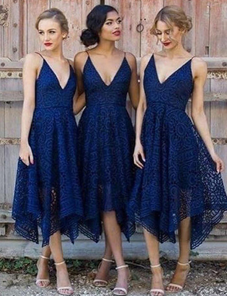 A-Line Spaghetti Straps Navy Blue Lace Asymmetrical Prom Bridesmaid Dress