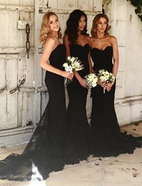 Mermaid Sweetheart Sweep Train Black Bridesmaid Dress with Appliques