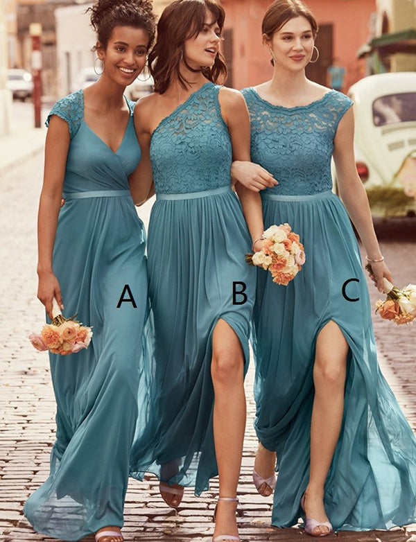 A-Line Scoop Cap Sleeves Dark Sage Chiffon Bridesmaid Dress with Lace - ericprom