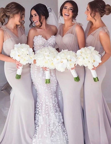 Mermaid Vneck Sweep Train Light Grey Bridesmaid Dress with Sash