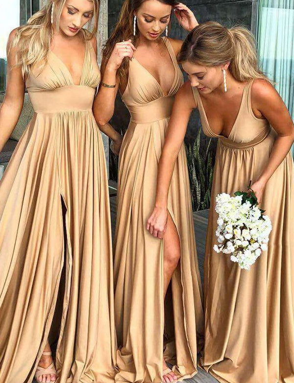 A-Line Deep Vneck Backless Gold Chiffon Long Bridesmaid Dress - ericprom