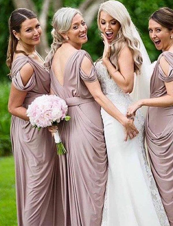 Sheath Vneck Cold Shoulder Ruched Blush Long Bridesmaid Dress - ericprom