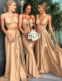 A-Line Deep Vneck Backless Gold Long Bridesmaid Dress - ericprom