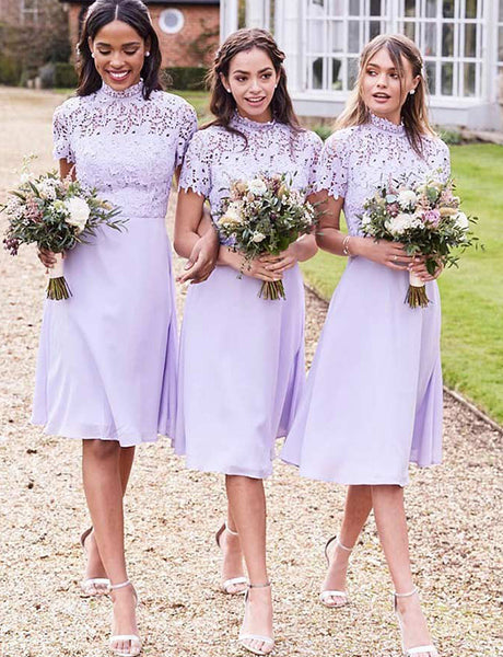 A-Line High Neck Short Sleeves Lilac Chiffon Bridesmaid Dress with Lace