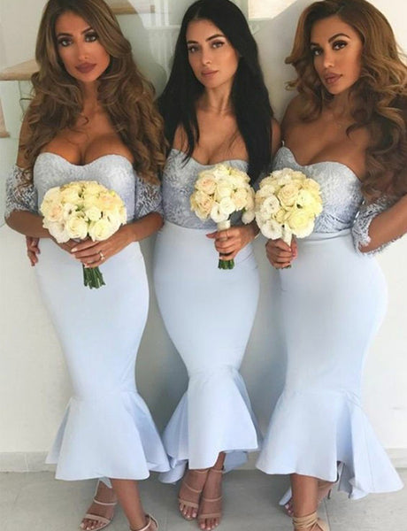 Mermaid Sweetheart Short Sleeves Light Blue Bridesmaid Dress with Lace