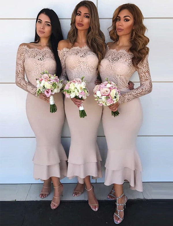Mermaid Off the Shoulder Long Sleeves Blush Bridesmaid Dress with Lace - ericprom