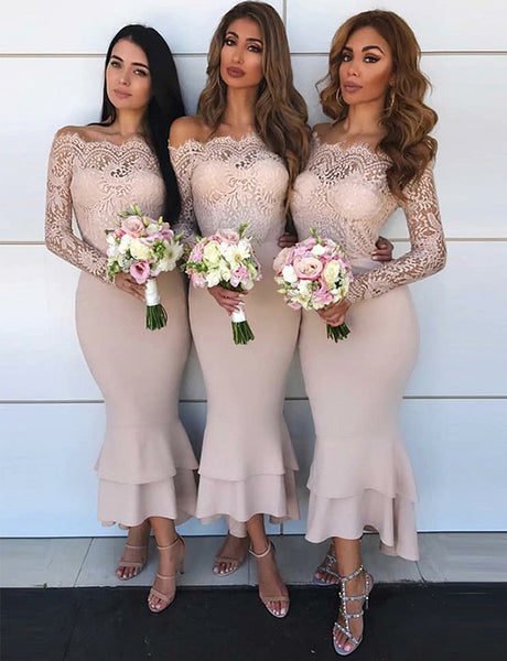 Mermaid Off the Shoulder Long Sleeves Blush Bridesmaid Dress with Lace