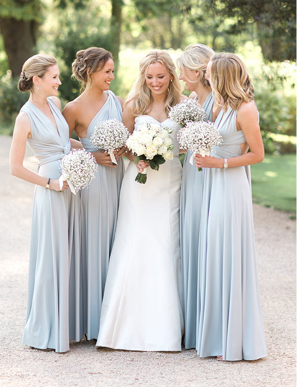 A-Line Vneck Open Back Light Blue Convertible Long Bridesmaid Dress - ericprom