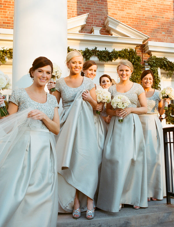 A-Line Scoop Short Sleeves Grey Satin Long Bridesmaid Dress with Sequins - ericprom