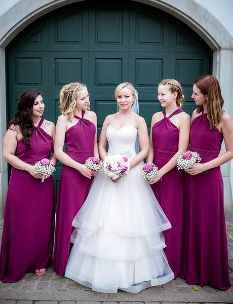 A-Line Cross Neck Floor Length Fuchsia Chiffon Bridesmaid Dress
