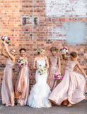 A-Line One Shoulder Floor Length Convertible Blush Bridesmaid Dress - ericprom
