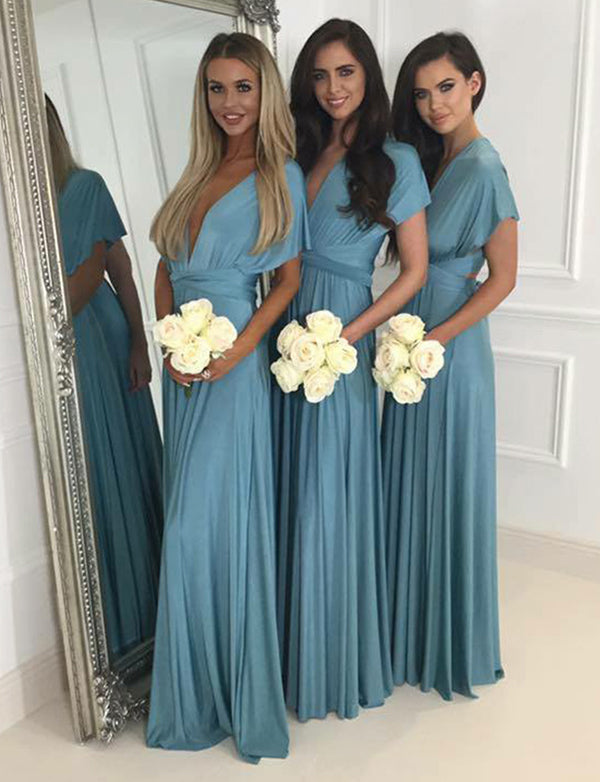 A-Line Vneck Cap Sleeves Floor Length Convertible Blue Bridesmaid Dress