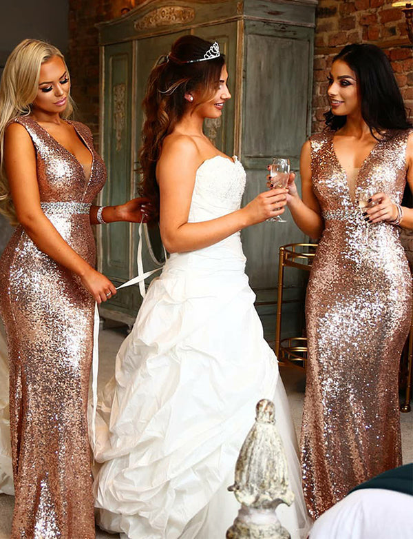 Mermaid Vneck Floor Length Rose Gold Sequin Bridesmaid Dress with Beading - ericprom