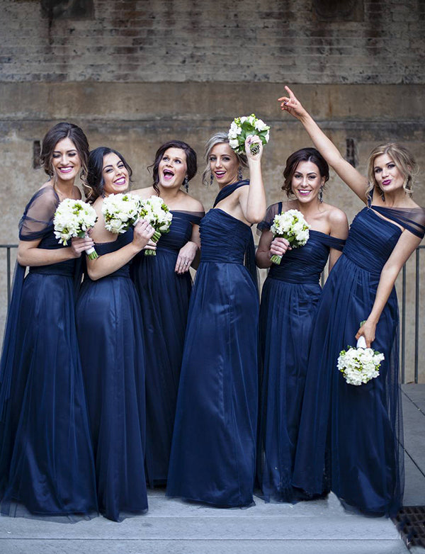 A-Line Off the Shoulder Floor Length Ruched Dark Blue Bridesmaid Dress - ericprom