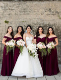 A-Line Off the Shoulder Floor Length Burgundy Bridesmaid Dress with Pleats - ericprom