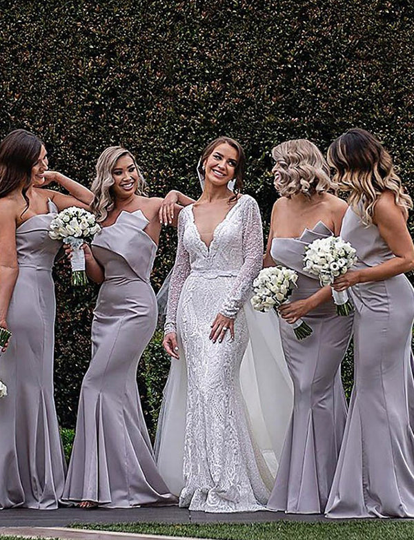 Mermaid Strapless Sweep Train Grey Satin Bridesmaid Dress - ericprom