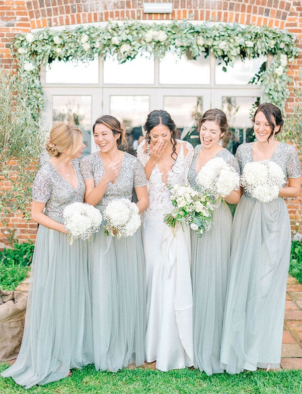 A-Line Vneck Short Sleeves Grey Long Bridesmaid Dress with Sequins - ericprom