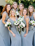 A-Line Vneck Floor Length Grey Ruched Chiffon Bridesmaid Dress - ericprom