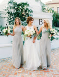 A-Line Cross Neck Floor Length Light Grey Ruched Chiffon Bridesmaid Dress - ericprom