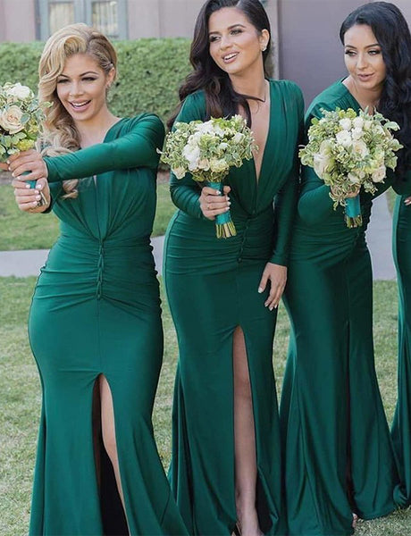 Mermaid V-Neck Long Sleeves Split Ruched Hunter Long Bridesmaid Dress