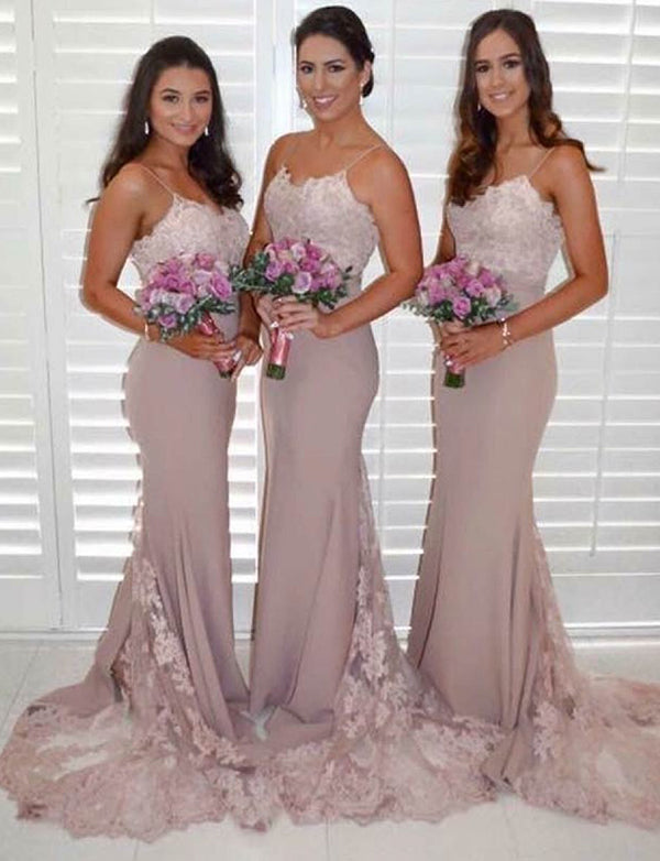 Mermaid Spaghetti Straps Long Blush Bridesmaid Dress with Appliques - ericprom