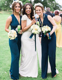 Vneck Sleeveless Chiffon Dark Blue Long Bridesmaid Jumpsuit - ericprom
